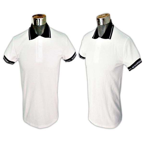 Playera tipo Polo, Con cuello y puño en azul o negro, lisa con seguridad privada en cuello y puños en blanco_Color Blanco. Tallas CH-M-G-XG